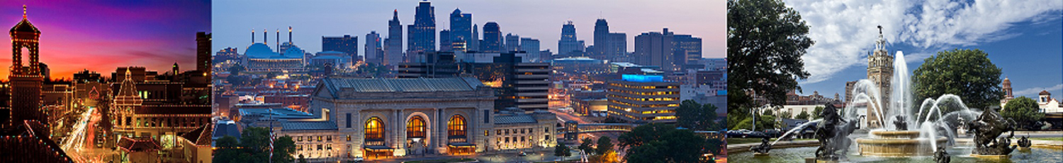 Panoramic image of the Kansas City downtown district at sunrise.
