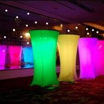 glowing pedistal tables Liberty Expo